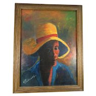 Henry Dubreuil Portrait Painting of a man in a Yellow Hat, Port-au-Prince, Haiti, Signed, Framed, 15 x 18-7/8 inch