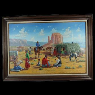 Navajo Artist Robert Becenti Jr. Southwest Landscape Painting