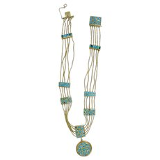 Antique Victorian 18K Yellow Gold and Persian Turquoise Necklace, 14-1/2 inches