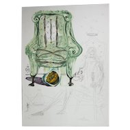 """Salvador Dali """"Breathing Pneumatic Armchair"""" Etching, Lithograph, Silkscreen and Collage, Signed, Numbered"""