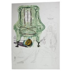 "Salvador Dali ""Breathing Pneumatic Armchair"" Etching, Lithograph, Silkscreen and Collage, Signed, Numbered"
