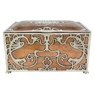 Art Nouveau Gorham Athenic Copper and Silver Humidor