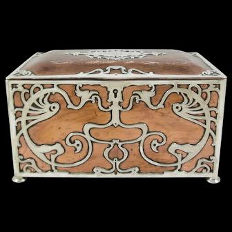 Art Nouveau Gorham Athenic Copper and Silver Humidor