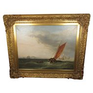 """Antique Signed 1853 British Maritime Oil Painting titled """"Straits"""" with a Sailing Ship flying a Netherlands Flag, Framed, 47-1/2 inches Wide, 37-1/2 inches High, and 4 inches Deep"""