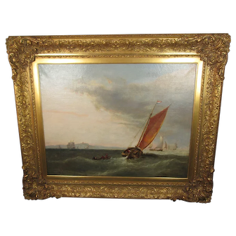 "Antique Signed 1853 British Maritime Oil Painting titled ""Straits"" with a Sailing Ship flying a Netherlands Flag, Framed, 47-1/2 inches Wide, 37-1/2 inches High, and 4 inches Deep"