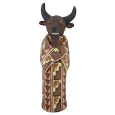 """Susi Nagoda Bergquist Unique Signed Ceramic Figurine """"Buffalo"""" 10-1/4 inches Tall"""