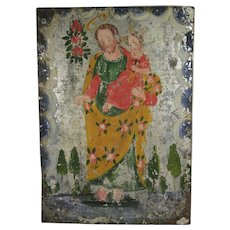 Mexican Hand Painted Tin Retablo of St. Joseph and the Christ Child