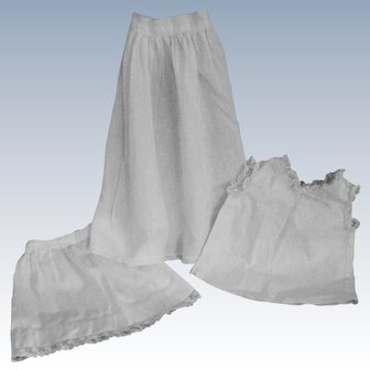 Three Older Slips and Bodice, Lace and Style