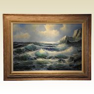 """California Seascape"" Signed George Salviati original oil on canvas"