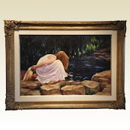 """Girl at the Lilly Pond"", Signed Beckus, Original Oil on Canvas"