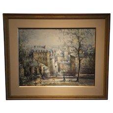 """Paris Street Scene"" -Signed Delarue-Watercolor on Paper"