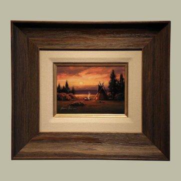 """""""Camp Sunset""""- Signed- Heine Hartwig-Original Oil on Board"""