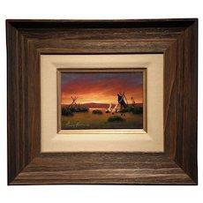 """""""Indian Encampment""""- Signed Heine Hartwig- Original Oil on Board"""