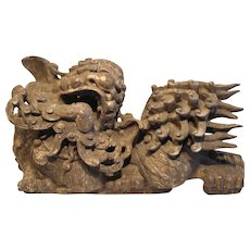 Chinese Lion (Foo Dog) Gilded Statue-Unsigned