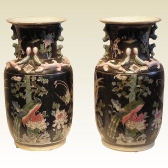 Pair Chinese Four Seasons Decorative Vases