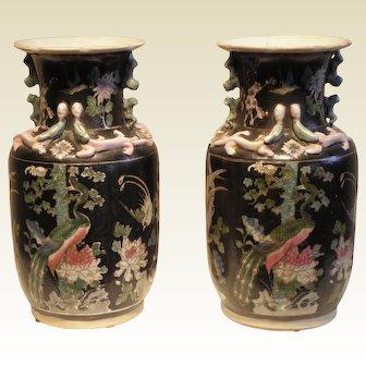Pair Chinese Four Seasons Decorative Vases