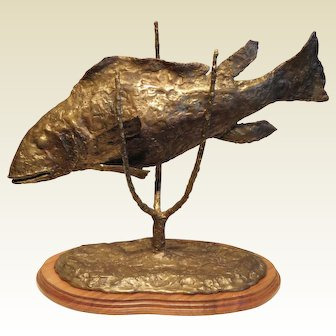 """'Sea Bass""""-signed  D. Fisher 84- Original Hand Made Bronze Sculpture"""