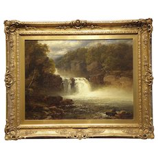 "Original Antique Oil on Linen mounted on Board, Artist - J.B. Smith (1848-1884), ""The Waterfalls"""