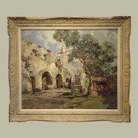 "Original Oil on Linen-Title- ""Italian Villa"" By Vittorio Giannaccini (b1905)"
