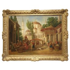 "Original Antique Oil on Linen- Initialed B. - ""Ottoman Marketplace"""