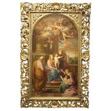 "Original Antique Oil on Linen- Title- ""Religious Scene"" - Unsigned"