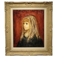 "Original Oil on Canvas- Artist S. Barcellini- ""Girl with a Tear"""