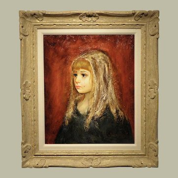 "Original Oil on Canvas- Artist S. Barcellini- ""Girl with a Tear"""