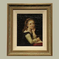 Original Oil on Canvas - Artist- J. Selles-Young Girl Reading