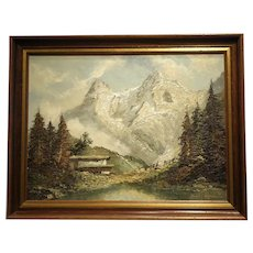 """23 3/4"""" H x 31  7/8"""" Original Oil on Canvas- title The Eiger in Switzerland Artist Herbert Luqman"""