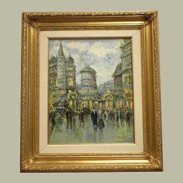 """20"""" H x 16"""" W Original Oil on Linen Title Moulin Rouge- artist Jean Boyer"""