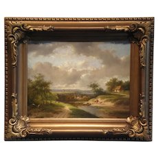 "9 7/8"" H x 13 5/8 W, Antique Original Oil on Board, Hand Scraped Antique Panel By Jan Evert Morel II (1835-1905)"