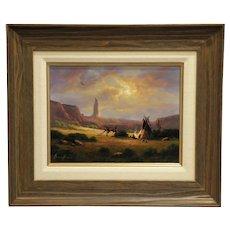 "11"" H x 14"" W Original Oil on Board, Title- Chimney Rock Wyoming, Artist Heinie Hartwig"