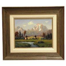 "11"" H x 14"" W Original Oil on Board, Title- Mount Moran Jackson Hole Wyoming, Artist Heinie Hartwig"
