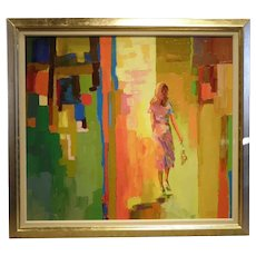 "31 ¾"" H x 35 ¾"" W  Original Acrylic on Linen, Titled ""Paesando"", Artist- Don Hazen"