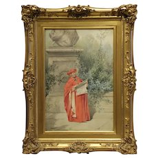 "17 ""H x 11 ½"" W, Original Watercolor on Paper, Title- Cardinal Reading, Artist- Alfred Charles Weber"