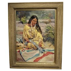 "Artist- Guadalupe Apodaca, 40"" H X 30"" W, Original Oil on Linen, Title- Native Woman"