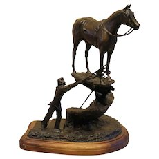 "17"" H x 12 1/2"" W x 12""D Limited Edition Bronze Sculpture, The Appaloosa Race Award in Honor of Chief Joseph, Artist- Ben Johnson"