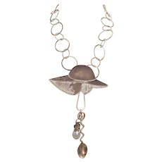 Necklace, Artisan, Chic Vintage Woman in Hat,Charms