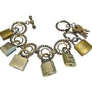 Bracelet, Charm, Vintage Luggage Locks