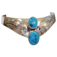 Sterling Turquoise Collar Choker, 70's Hallmarked, Pure Silver Artisan