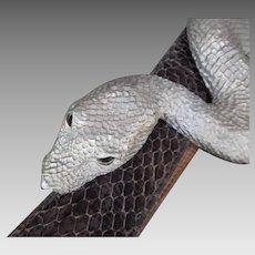 Belt Buckle, Snake Design, Glass Eye ,Designer Christopher Ross, Vintage 1980