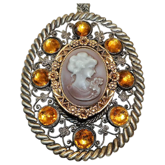 Pendant,Large, Chunky, Cameo, Amber Stones, Gold Frame around Cameo