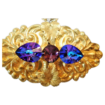 Pendant/Pin, Older Vintage, Large Iridescent Blue Purple Crystals, Very Ornate Pin/Pendant