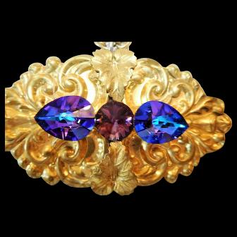 Pendant/Pin, Older Vintage, Large Iridescent Blue Purple Crystals, Very Ornate Pin/Pendant