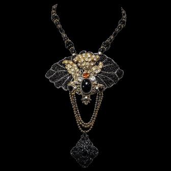 Necklace,Black Beauty,Bold,Antique and Vintage Elements, Feminine,Timeless,Stepford Era Style, Steampunk