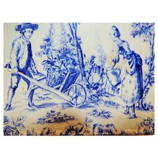 Toile Design Older Vintage Tin Box, Blue and White, Great Patina