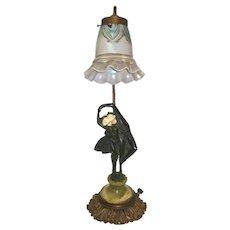 Peter Tereszczuk Austrian Art Deco Figurative Harlequin Bronze Lamp