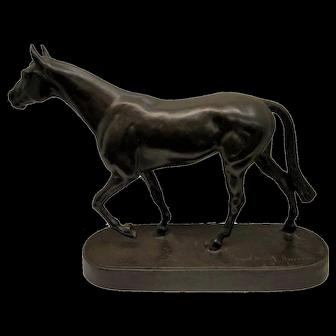 Thoroughbred Stallion Racehorse Bronze Sculpture by Albert Hussmann (1874-1946)