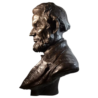 Abraham Lincoln Bronze Bust Sculpture by Hans Muller (Austrian, 1873-1937)