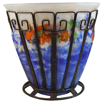Art Deco Iron Mounted Blown-Out Glass Vase in Manner of Louis Majorelle for Daum